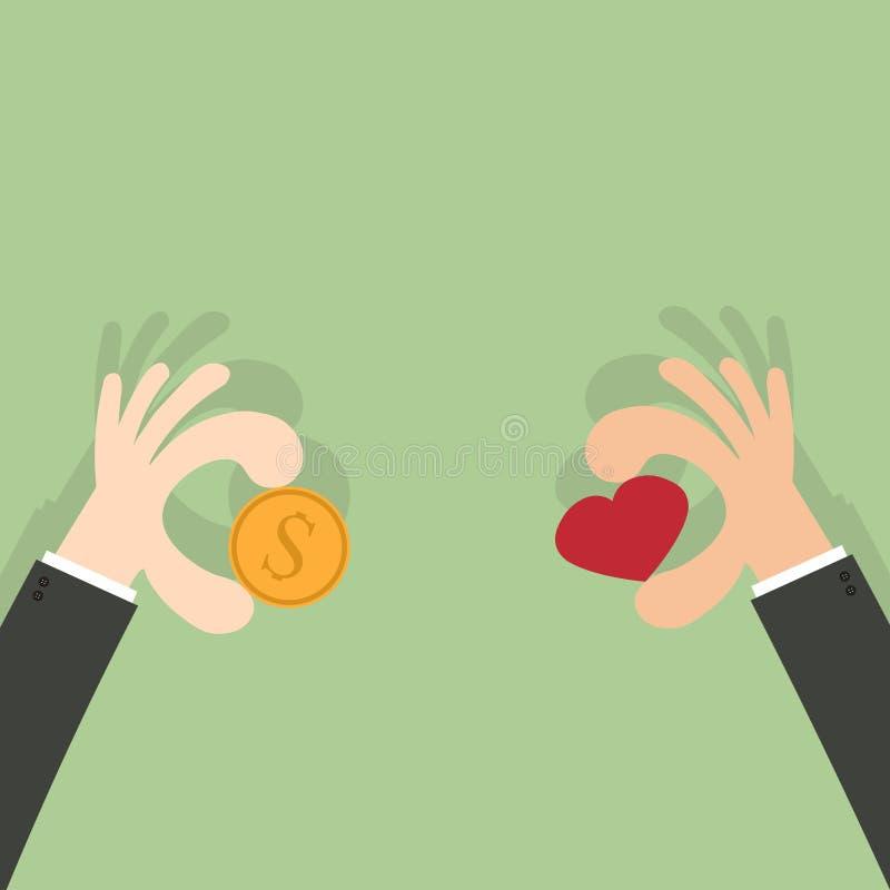 Ge pengar ger hjärta vektor illustrationer