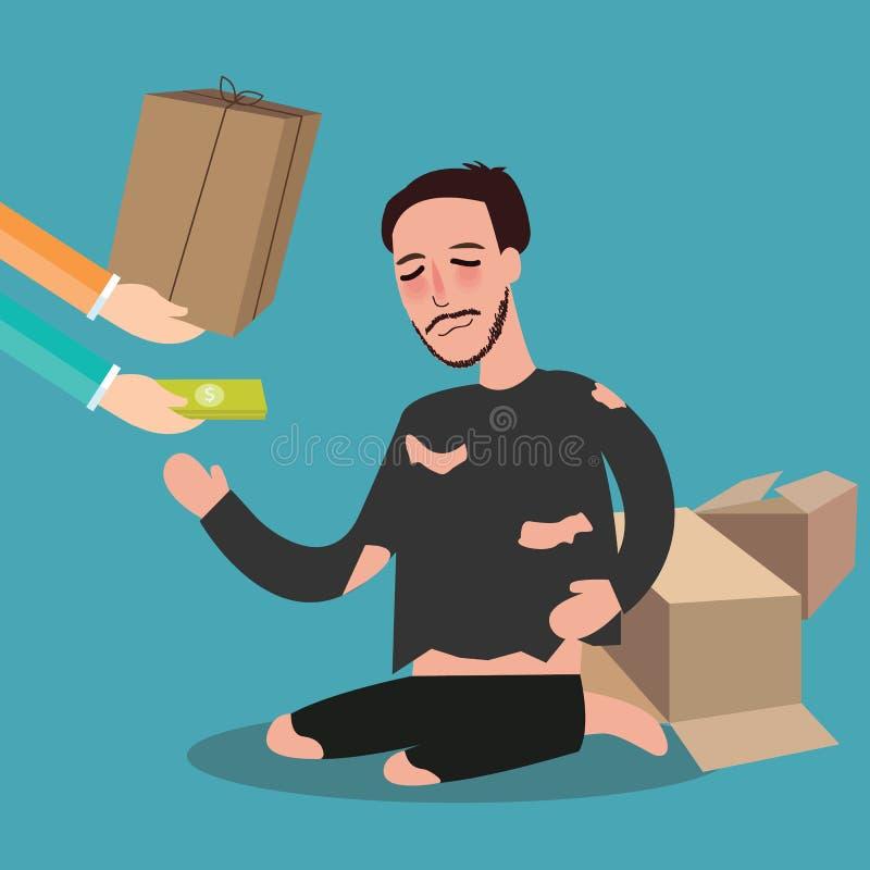 Ge pengar till det fattiga hemlösa bosatta kortbrädet göra till tiggare zakatbegreppsmedkänsla i islam royaltyfri illustrationer