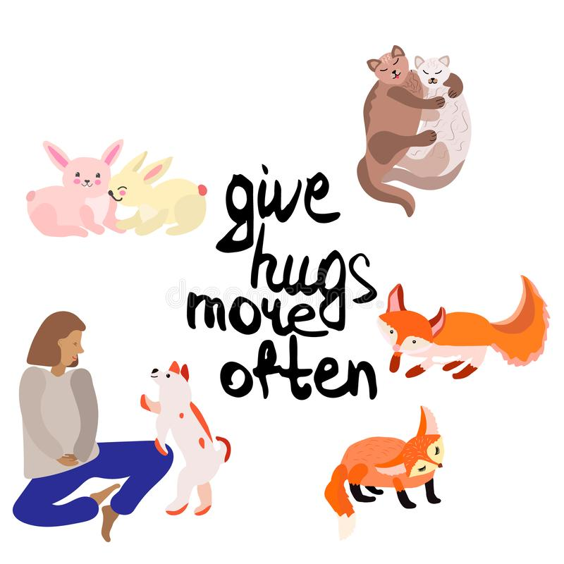 Ge sig kramar mer ofta Folk och djur royaltyfri illustrationer