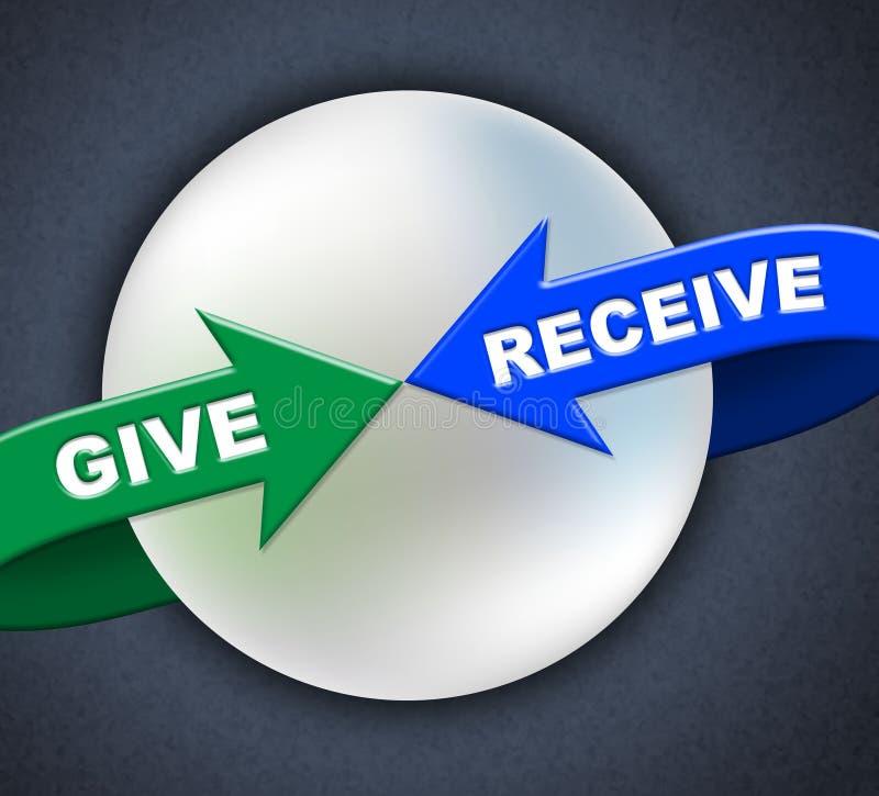 Ge sig mottar pilar föreställer gåva donerar och tar vektor illustrationer