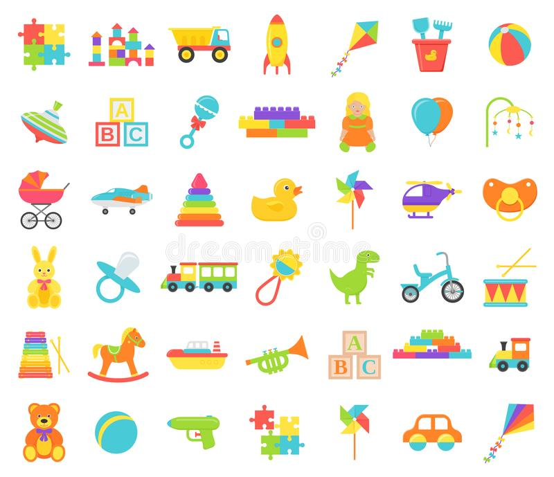 Ge?soleerd babystuk speelgoed Vector illustratie Vastgesteld jonge geitjesspeelgoed stock illustratie