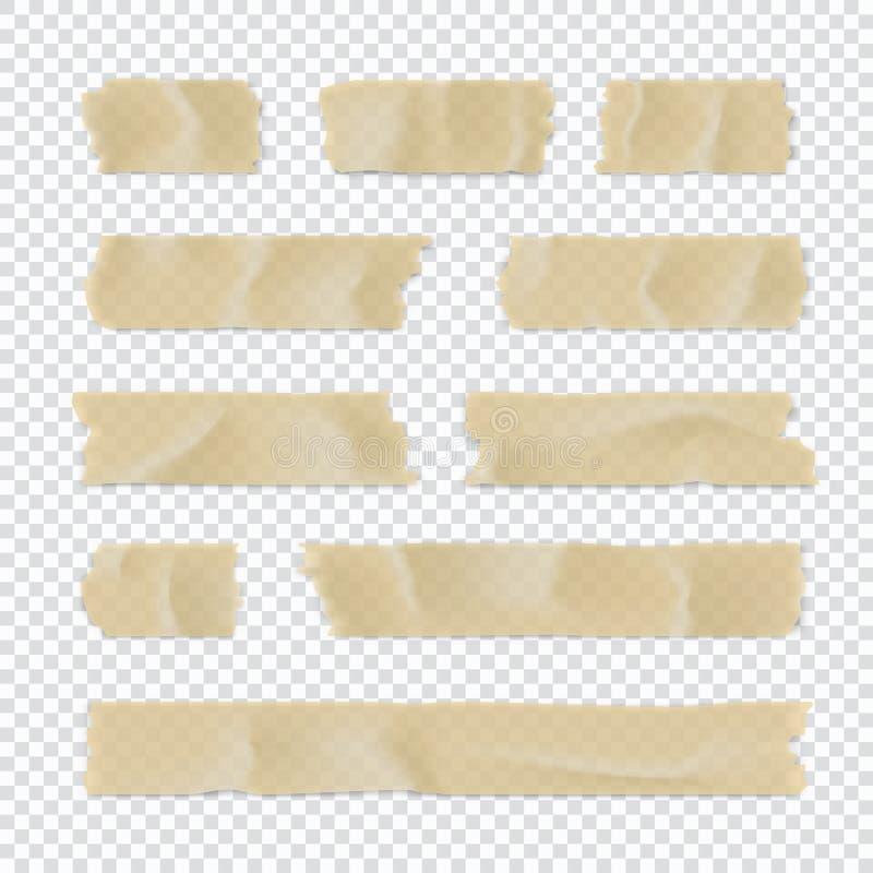 Ge?soleerd op wit Kleverige die document strook op transparante achtergrond wordt geïsoleerd Vector illustratie vector illustratie