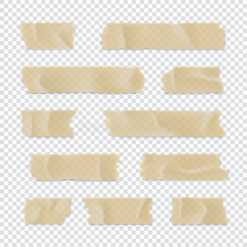 Ge?soleerd op wit Kleverige die document strook op transparante achtergrond wordt geïsoleerd Vector illustratie stock illustratie