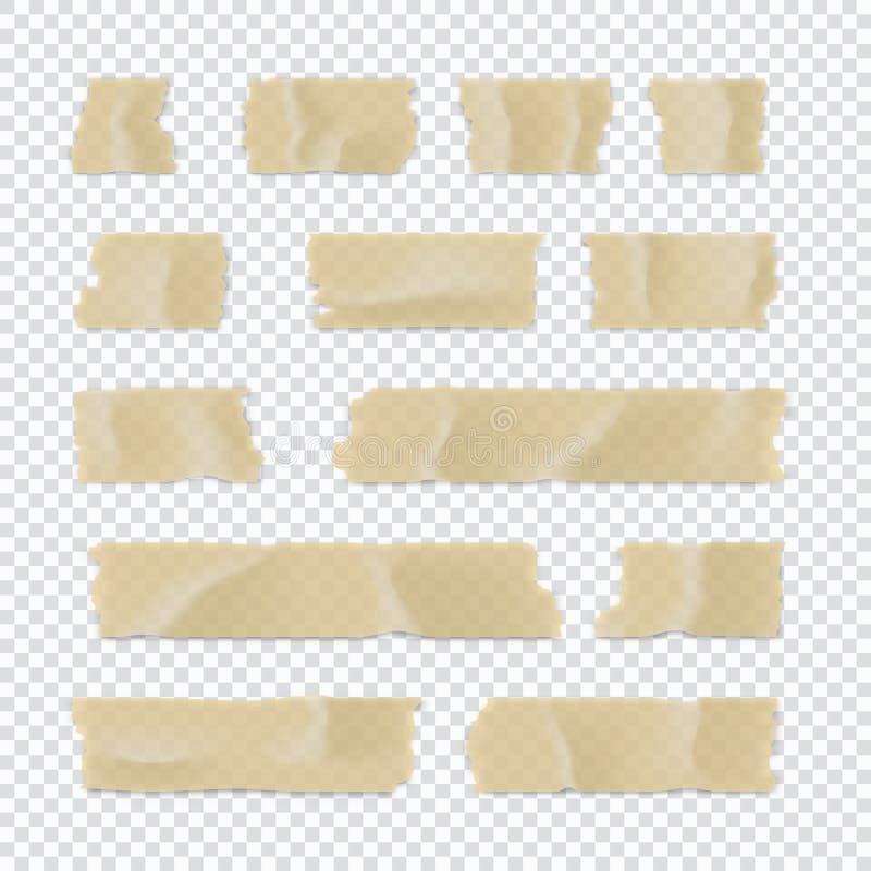 Ge?soleerd op wit Kleverige die document strook op transparante achtergrond wordt geïsoleerd Vector illustratie royalty-vrije illustratie