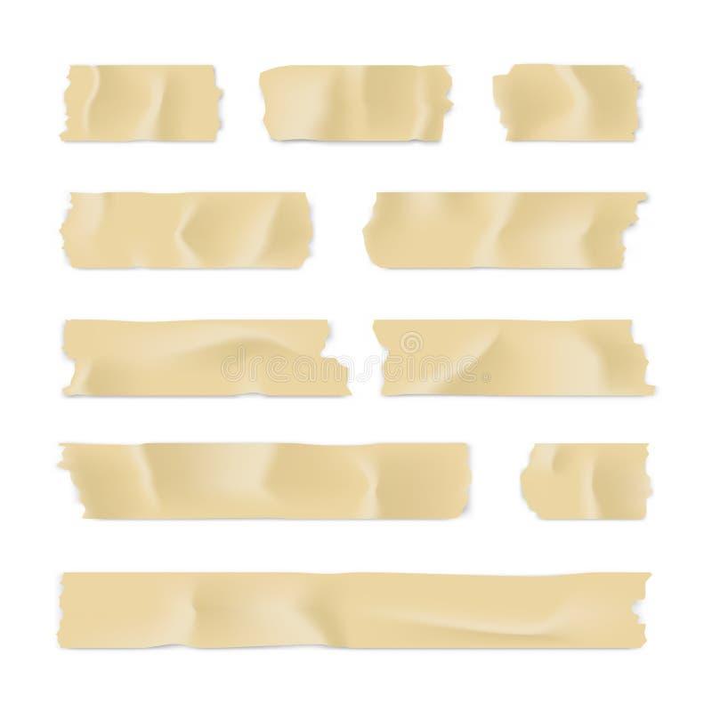 Ge?soleerd op wit Kleverige die document strook op witte achtergrond wordt geïsoleerd Vector illustratie royalty-vrije illustratie