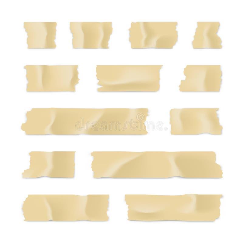 Ge?soleerd op wit Kleverige die document strook op witte achtergrond wordt geïsoleerd Vector illustratie stock illustratie