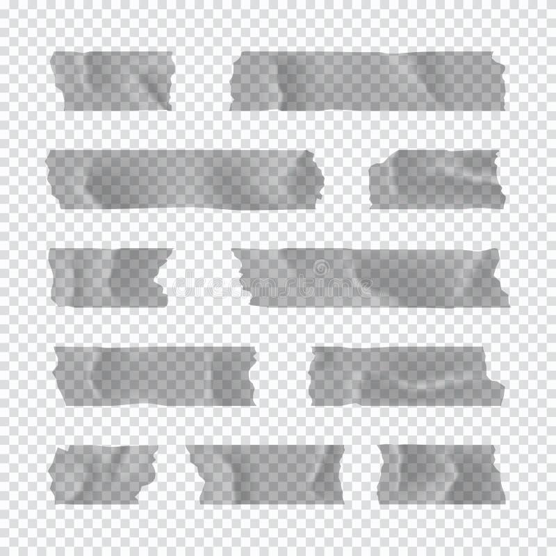Ge?soleerd op wit Kleverige document strook die op transparante achtergrond wordt geïsoleerd Vector illustratie stock illustratie