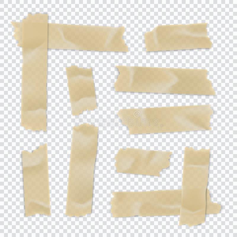 Ge?soleerd op wit Kleverige document strook die op transparante achtergrond wordt geïsoleerd Vector illustratie royalty-vrije illustratie