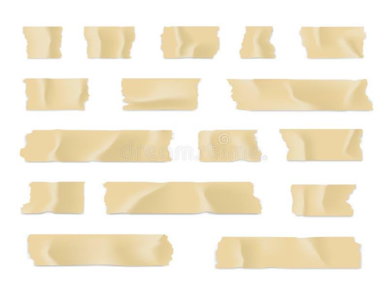 Ge?soleerd op wit Kleverige document strook die op witte achtergrond wordt geïsoleerd Vector illustratie stock illustratie