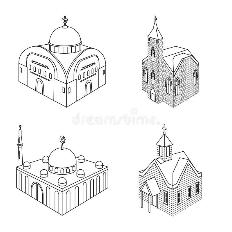 Ge?soleerd voorwerp van architectuur en de bouwpictogram Inzameling van architectuur en de vectorillustratie van de geestelijkhei vector illustratie