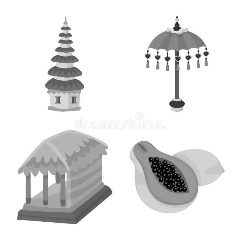Ge?soleerd voorwerp van Aziaat en aardrijkskundesymbool Reeks van Aziaat en het symbool van de toerismevoorraad voor Web stock illustratie