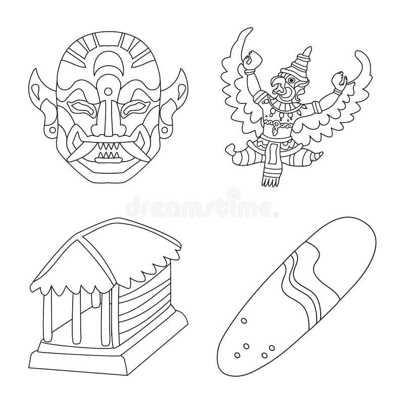 Ge?soleerd voorwerp van Balinees en Cara?bisch pictogram Reeks van de vectorillustratie van de Balinese en aardrijkskundevoorraad stock illustratie