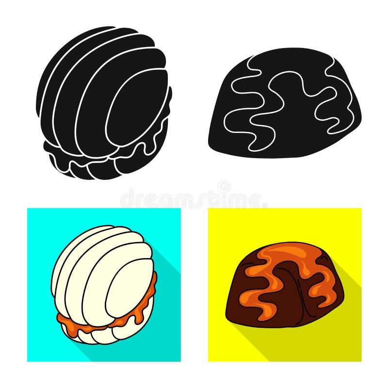 Ge?soleerd voorwerp van banketbakkerij en culinair embleem Reeks van banketbakkerij en productvoorraadsymbool voor Web stock illustratie