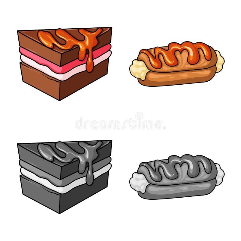 Ge?soleerd voorwerp van banketbakkerij en culinair pictogram Inzameling van banketbakkerij en productvoorraadsymbool voor Web stock illustratie