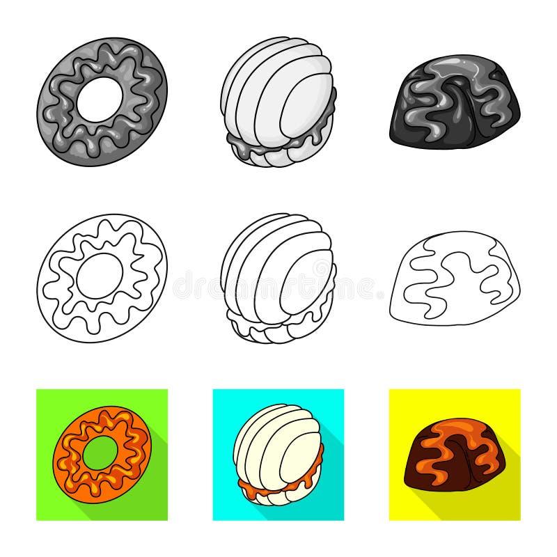 Ge?soleerd voorwerp van banketbakkerij en culinair symbool Inzameling van banketbakkerij en product vectorpictogram voor voorraad vector illustratie