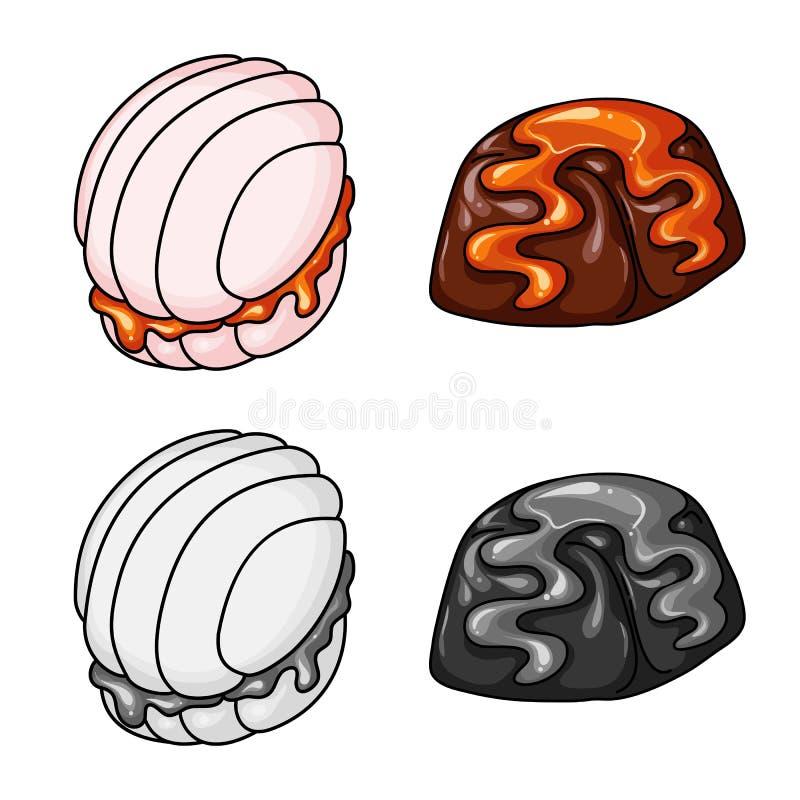 Ge?soleerd voorwerp van banketbakkerij en culinair symbool Reeks van banketbakkerij en productvoorraadsymbool voor Web stock illustratie
