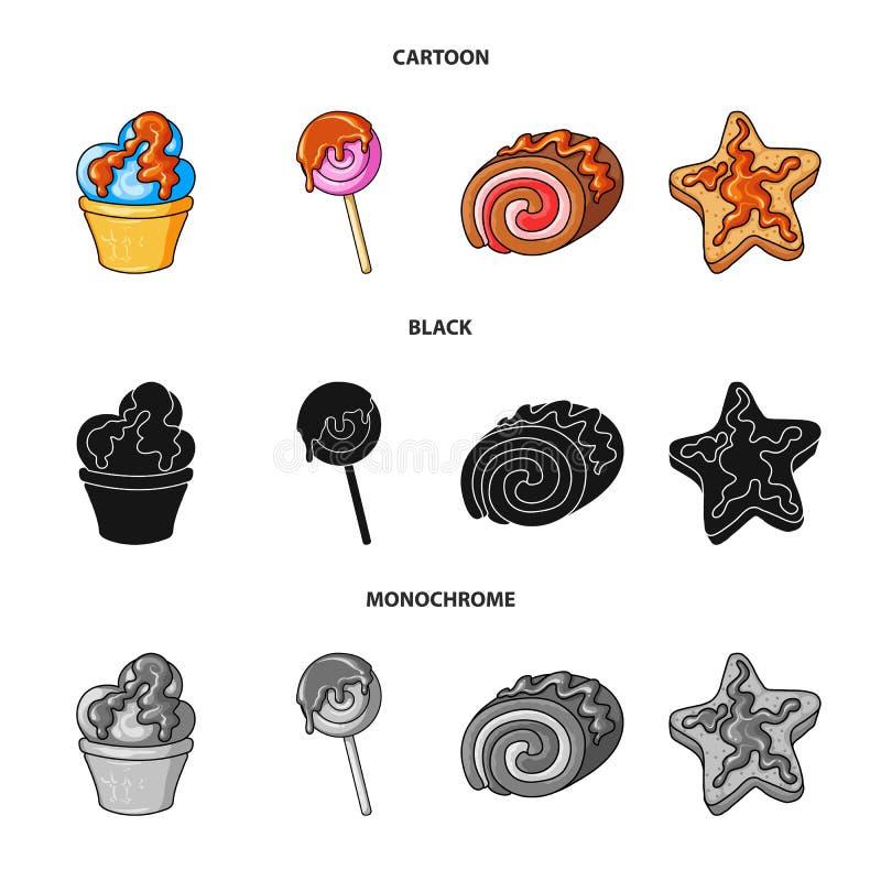 Ge?soleerd voorwerp van banketbakkerij en culinair teken Inzameling van banketbakkerij en productvoorraadsymbool voor Web stock illustratie
