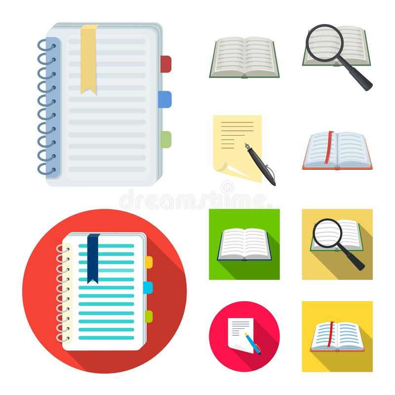 Ge?soleerd voorwerp van boek en open embleem Inzameling van boek en potloodvoorraadsymbool voor Web vector illustratie