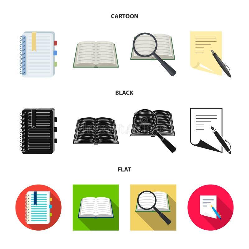 Ge?soleerd voorwerp van boek en open pictogram Inzameling van boek en potloodvoorraad vectorillustratie royalty-vrije illustratie