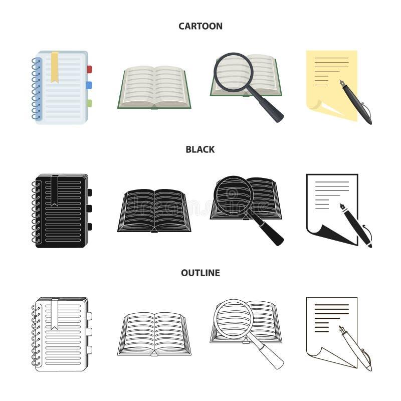 Ge?soleerd voorwerp van boek en open pictogram Reeks van boek en potlood vectorpictogram voor voorraad vector illustratie