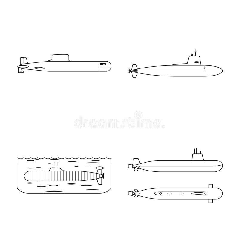 Ge?soleerd voorwerp van boot en marineembleem Inzameling van boot en diepe voorraad vectorillustratie vector illustratie