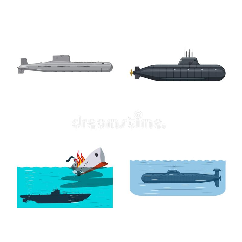 Ge?soleerd voorwerp van boot en marinepictogram Inzameling van boot en diep vectorpictogram voor voorraad royalty-vrije illustratie