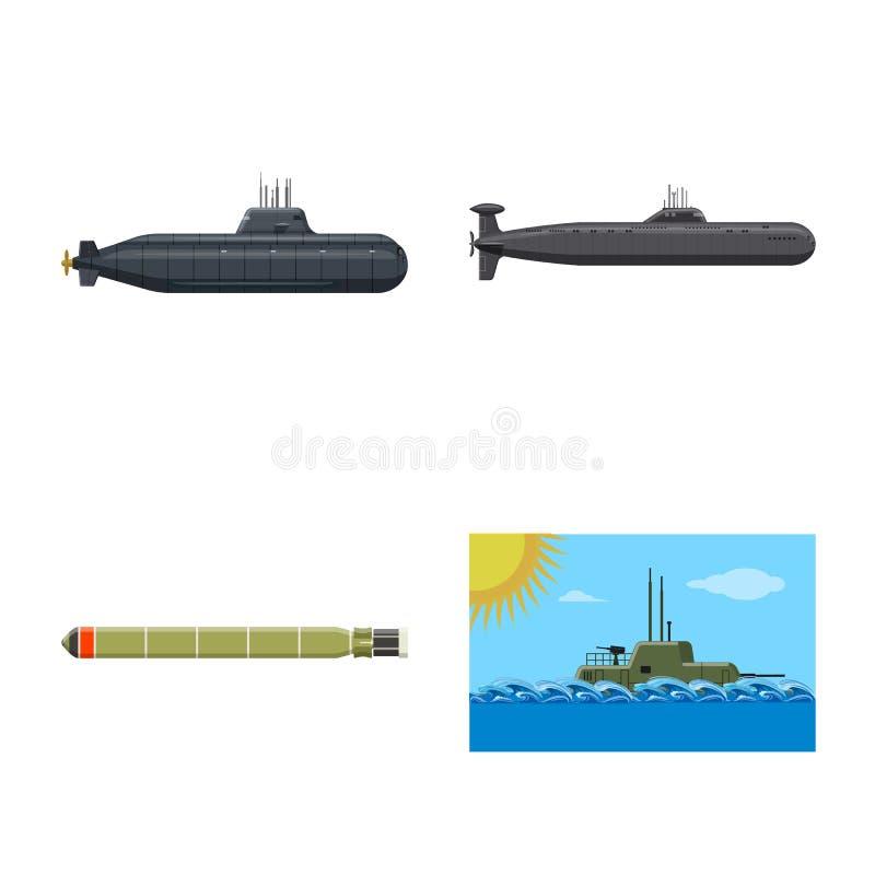 Ge?soleerd voorwerp van boot en marinepictogram Inzameling van boot en diepe voorraad vectorillustratie stock illustratie