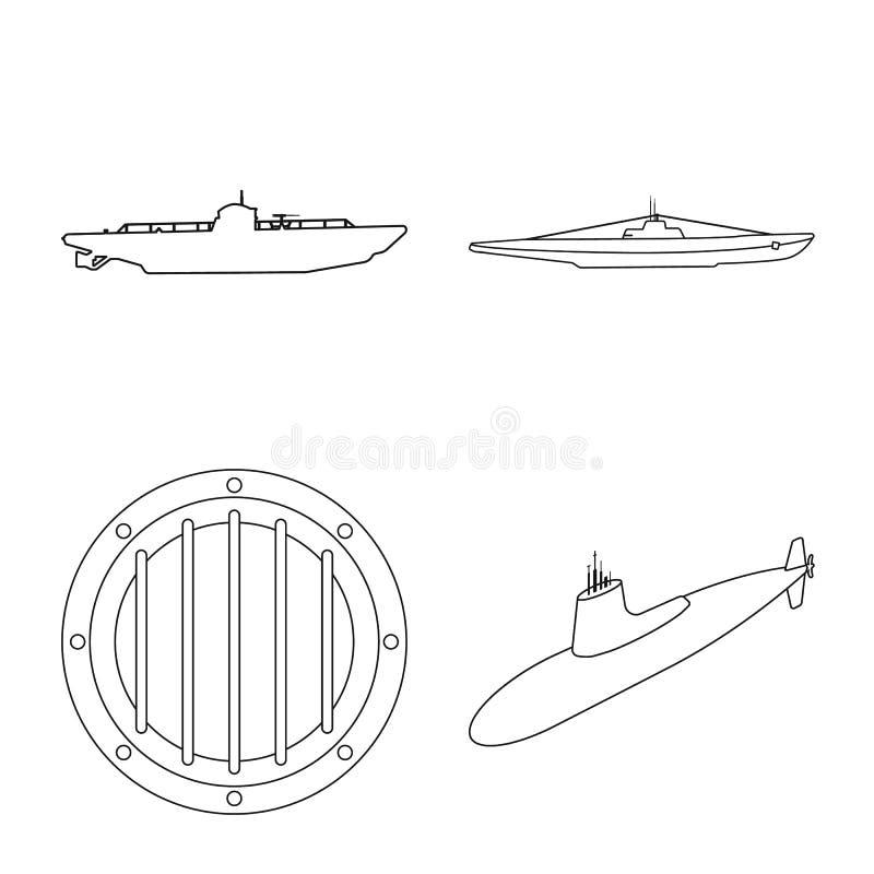 Ge?soleerd voorwerp van boot en marinepictogram Reeks van boot en diepe voorraad vectorillustratie vector illustratie