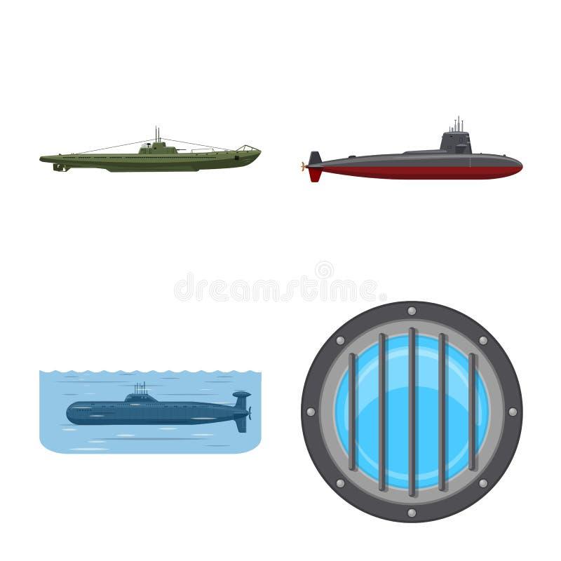 Ge?soleerd voorwerp van boot en marinesymbool Inzameling van boot en diepe voorraad vectorillustratie vector illustratie