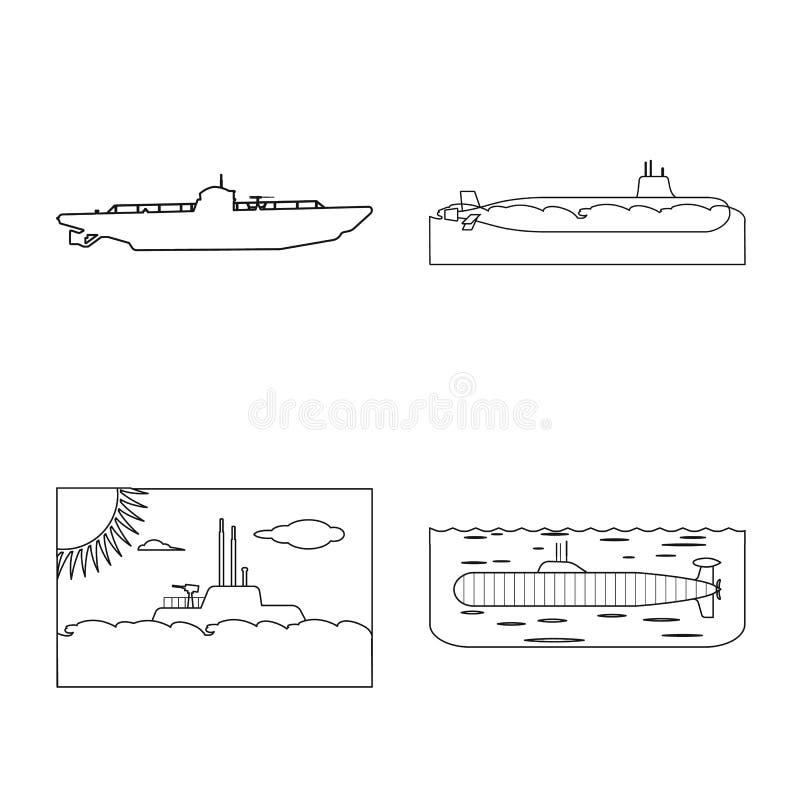 Ge?soleerd voorwerp van boot en marineteken Reeks van boot en diep voorraadsymbool voor Web royalty-vrije illustratie