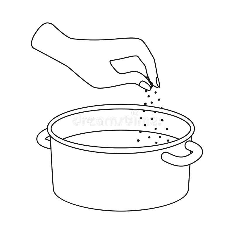 Ge?soleerd voorwerp van braadpan en waterpictogram Reeks van braadpan en wapenvoorraadsymbool voor Web vector illustratie