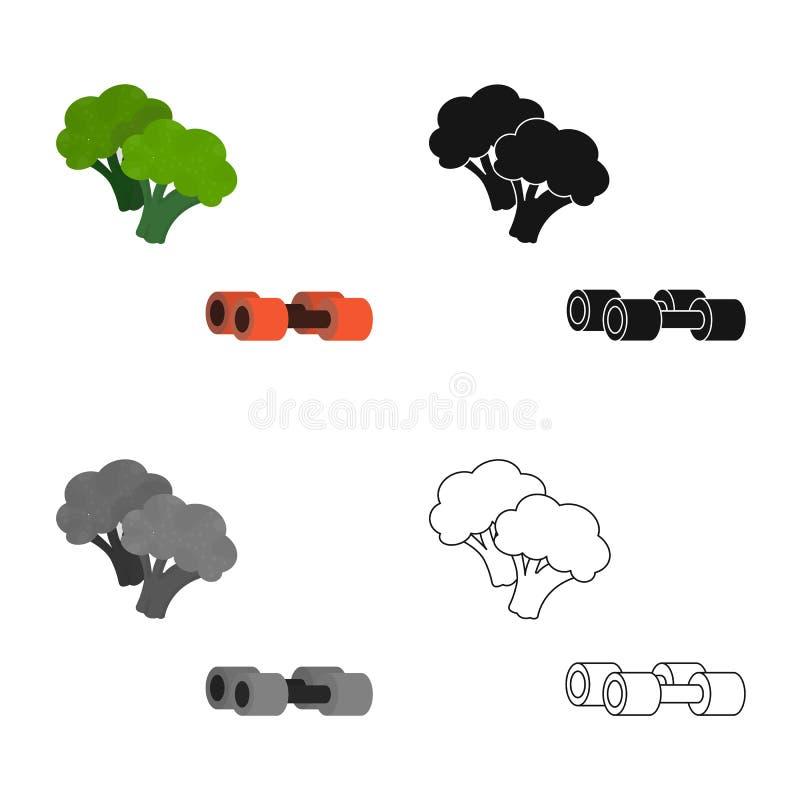 Ge?soleerd voorwerp van broccoli en plantaardig teken Reeks van broccoli en groene voorraad vectorillustratie vector illustratie