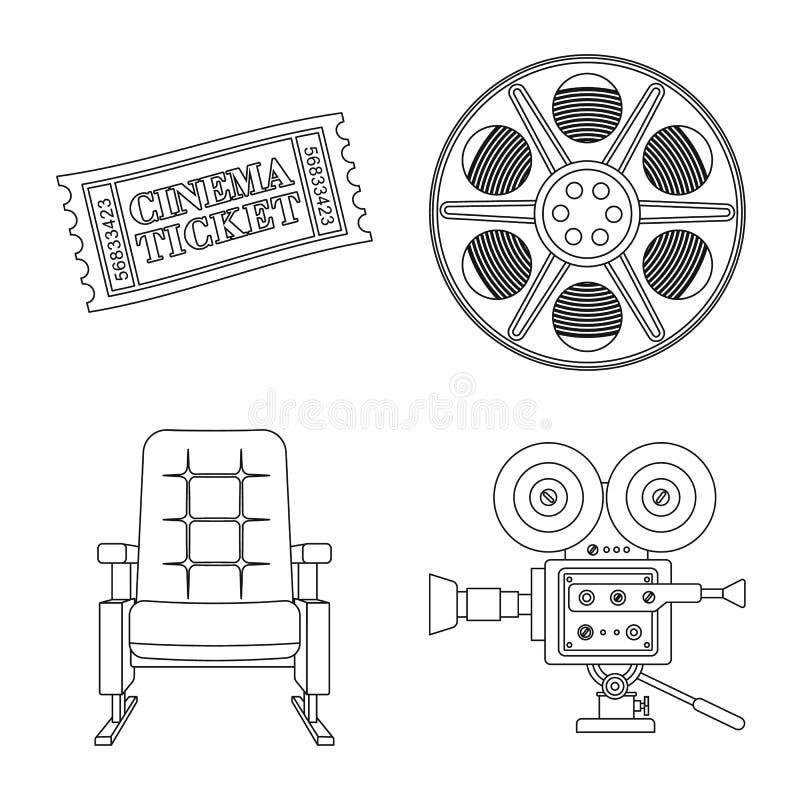 Ge?soleerd voorwerp van cinematografie en studioembleem Inzameling van cinematografie en vermaakvoorraadsymbool voor Web stock illustratie