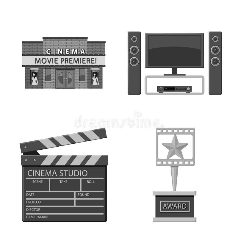 Ge?soleerd voorwerp van cinematografie en studiopictogram Inzameling van cinematografie en filmvoorraadsymbool voor Web vector illustratie