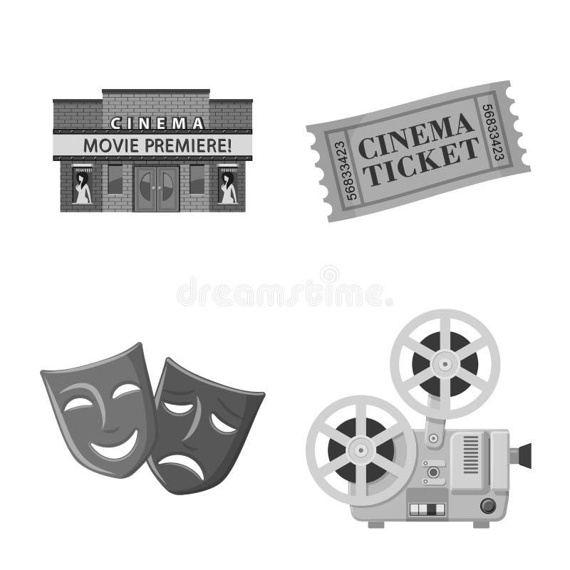 Ge?soleerd voorwerp van cinematografie en studiopictogram Reeks van cinematografie en filmvoorraadsymbool voor Web stock illustratie