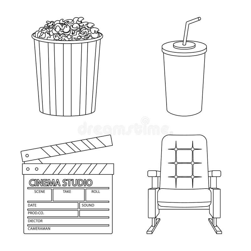 Ge?soleerd voorwerp van cinematografie en studiosymbool Inzameling van cinematografie en vermaak vectorpictogram voor royalty-vrije illustratie