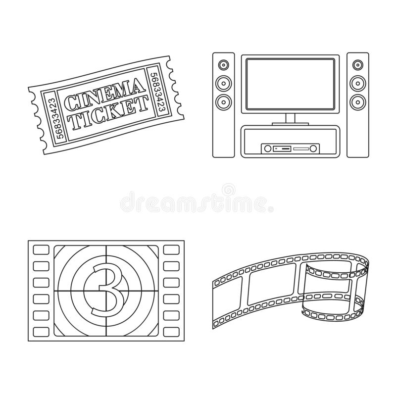Ge?soleerd voorwerp van cinematografie en studiosymbool Inzameling van cinematografie en vermaak vectorpictogram voor stock illustratie