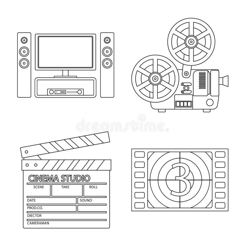 Ge?soleerd voorwerp van cinematografie en studiosymbool Inzameling van cinematografie en vermaakvoorraadsymbool voor Web vector illustratie