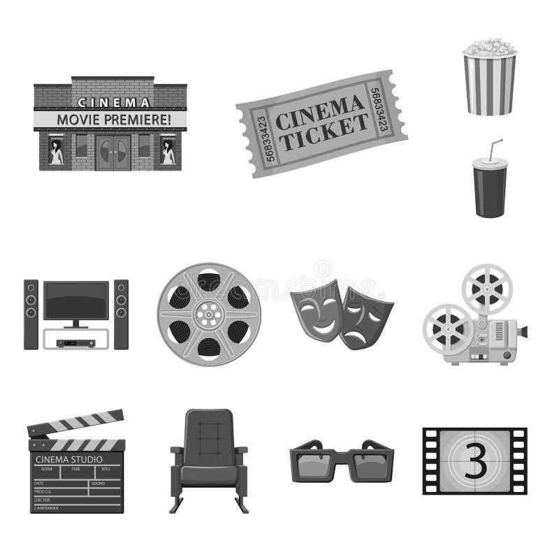 Ge?soleerd voorwerp van cinematografie en studiosymbool Reeks van cinematografie en film vectorpictogram voor voorraad vector illustratie