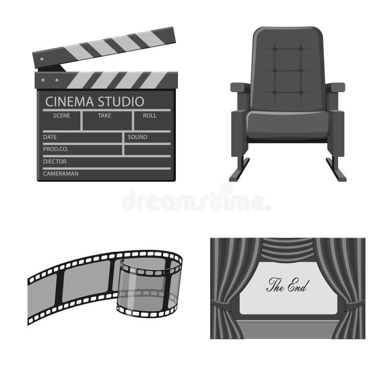 Ge?soleerd voorwerp van cinematografie en studiosymbool Reeks van cinematografie en film vectorpictogram voor voorraad stock illustratie