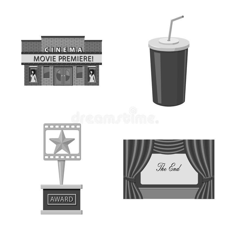 Ge?soleerd voorwerp van cinematografie en studiosymbool Reeks van cinematografie en filmvoorraadsymbool voor Web stock illustratie