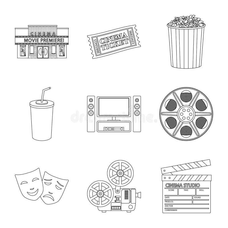 Ge?soleerd voorwerp van cinematografie en studiosymbool Reeks van cinematografie en vermaakvoorraad vectorillustratie royalty-vrije illustratie
