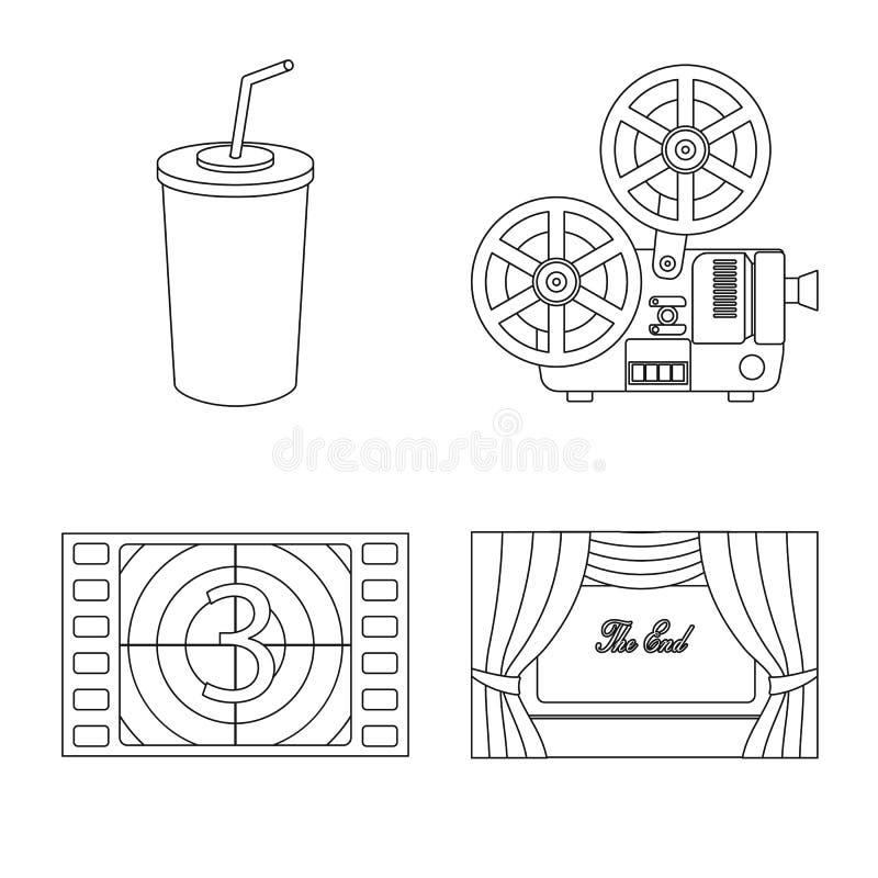 Ge?soleerd voorwerp van cinematografie en studioteken Reeks van cinematografie en vermaakvoorraadsymbool voor Web royalty-vrije illustratie