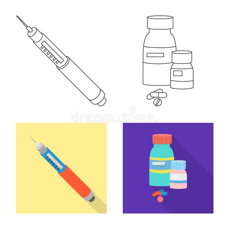 Ge?soleerd voorwerp van dieet en behandelingsembleem Inzameling van dieet en geneeskunde vectorpictogram voor voorraad vector illustratie
