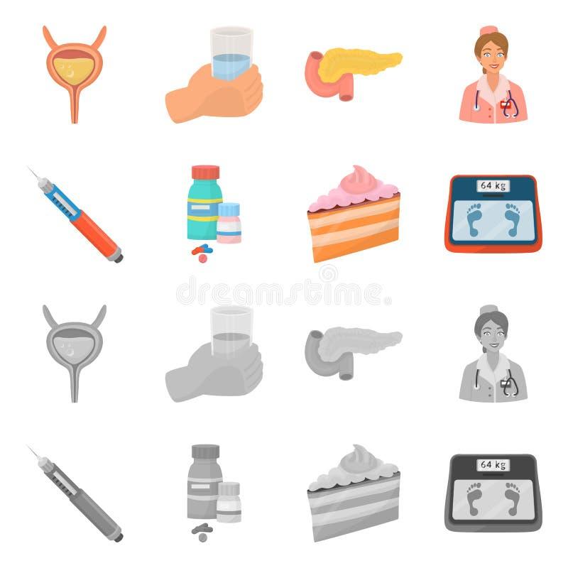 Ge?soleerd voorwerp van dieet en behandelingsteken Inzameling van dieet en de vectorillustratie van de geneeskundevoorraad stock illustratie