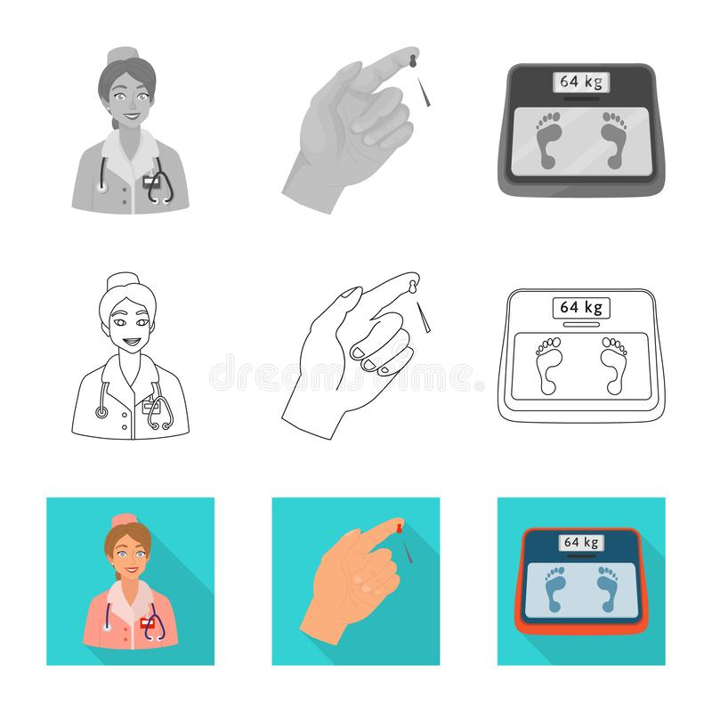 Ge?soleerd voorwerp van dieet en behandelingsteken Inzameling van dieet en geneeskunde vectorpictogram voor voorraad stock illustratie