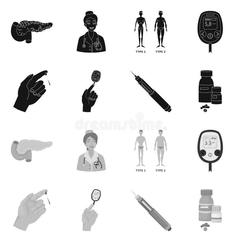 Ge?soleerd voorwerp van dieet en behandelingsteken Inzameling van dieet en het symbool van de geneeskundevoorraad voor Web royalty-vrije illustratie