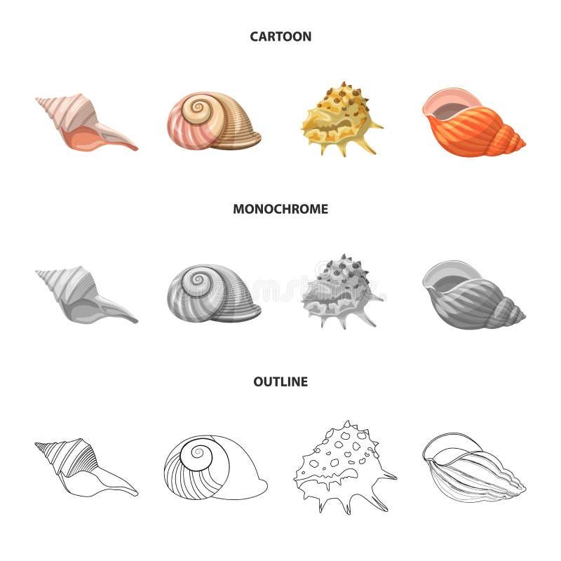 Ge?soleerd voorwerp van dier en decoratieembleem Reeks van dierlijk en oceaan vectorpictogram voor voorraad vector illustratie