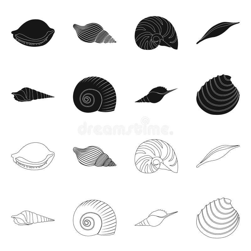 Ge?soleerd voorwerp van dier en decoratieteken Inzameling van dierlijke en oceaanvoorraad vectorillustratie royalty-vrije illustratie