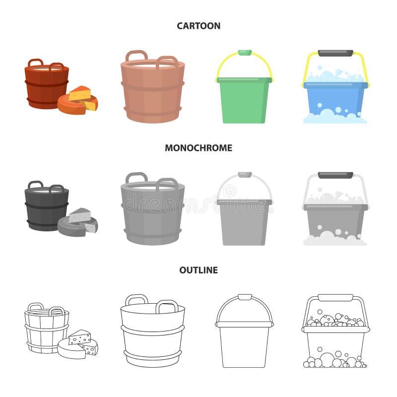 Ge?soleerd voorwerp van emmer en watersymbool Inzameling van emmer en volledige voorraad vectorillustratie stock illustratie